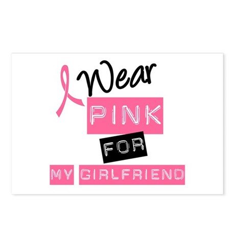 I Wear Pink For Girlfriend Postcards (Package of 8