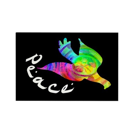Rainbow Dove Peace Rectangle Magnet
