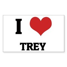 I Love Trey Rectangle Decal