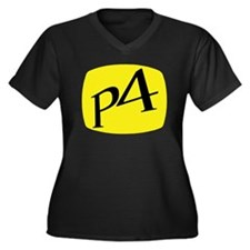 P4 TV Women's Plus Size V-Neck Dark T-Shirt
