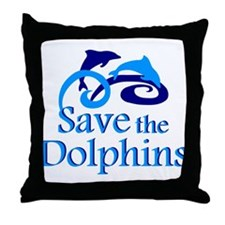 Save the Dolphins Throw Pillow