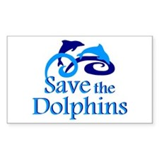 Save the Dolphins Rectangle Sticker 10 pk)