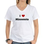 I Love Minnesota Women's V-Neck T-Shirt
