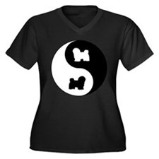 Yin Yang Havanese Women's Plus Size V-Neck Dark T-