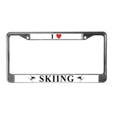I Love Skiing License Plate Frame