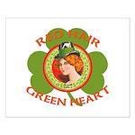 Red Hair Green Heart Irish Girl Small Poster