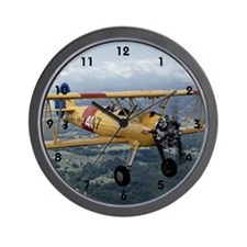 flying biplane Wall Clock