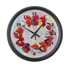 Twelve Roosters Large Wall Clock