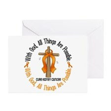 With God Cross Kidney Cancer Greeting Cards (Pk of