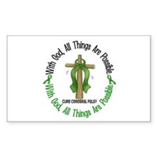 With God Cross Cerebral Palsy Rectangle Bumper Stickers