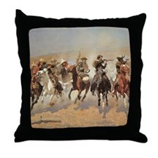 A Dash For Timber by Remington Throw Pillow