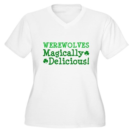 Werewolves Delicious Women's Plus Size V-Neck T-Sh