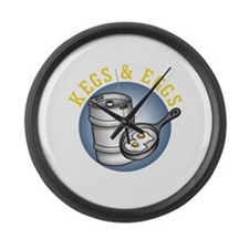 Kegs & Eggs (dark shirt) Large Wall Clock