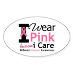 IWearPinkBecauseICare Oval Sticker (50 pk)