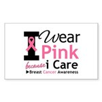 IWearPinkBecauseICare Rectangle Sticker 10 pk)