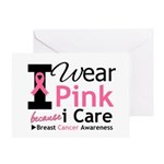 IWearPinkBecauseICare Greeting Card