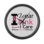 IWearPinkBecauseICare Large Wall Clock