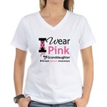 IWearPink Granddaughter Women's V-Neck T-Shirt
