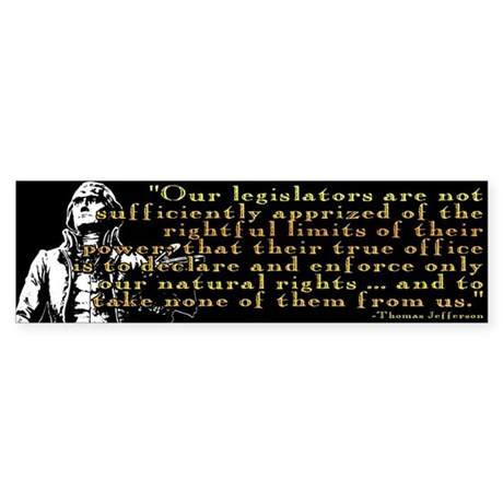 Jefferson Limits On Power Quo Bumper Sticker