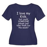 I Love My Kids Women's Plus Size Scoop Neck Dark T