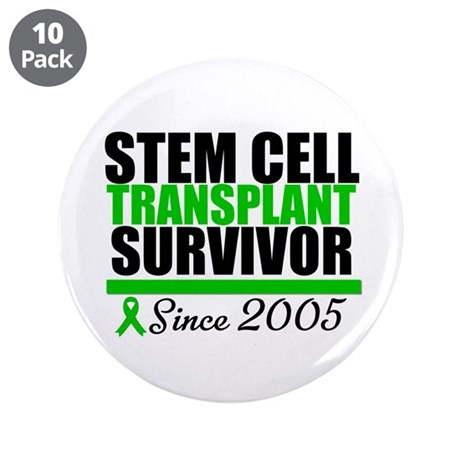 SCT Survivor Green Ribbon 3.5&quot; Button (10 pack)