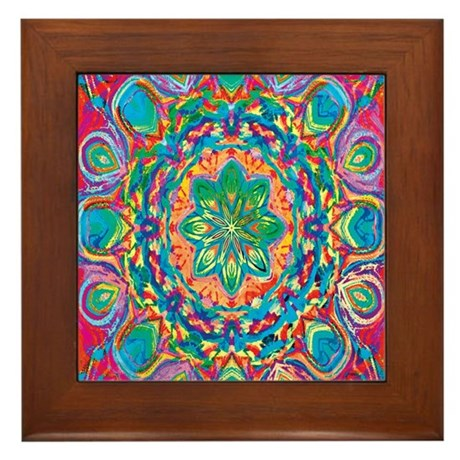 Painted Flower Framed Tile