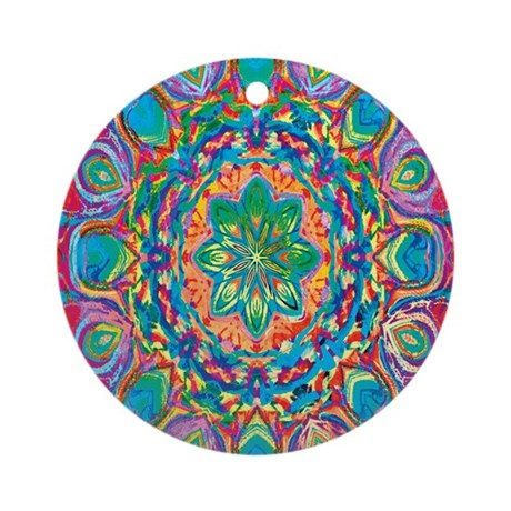 Painted Flower Ornament (Round)
