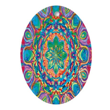 Painted Flower Oval Ornament