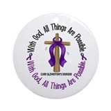 With God Cross ALZHEIMERS Ornament (Round)