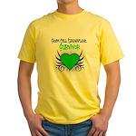 SCT Survivor Grunge Heart Yellow T-Shirt