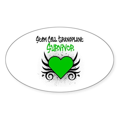 SCT Survivor Grunge Heart Oval Sticker