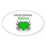 SCT Survivor Grunge Heart Oval Sticker (10 pk)