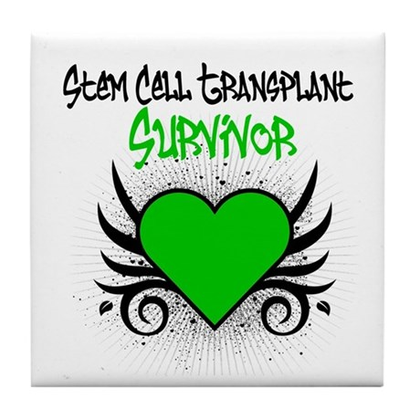 SCT Survivor Grunge Heart Tile Coaster