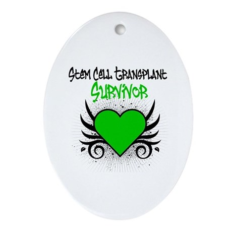 SCT Survivor Grunge Heart Oval Ornament
