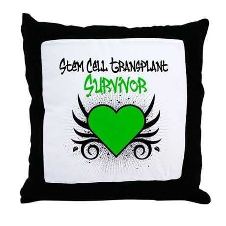 SCT Survivor Grunge Heart Throw Pillow