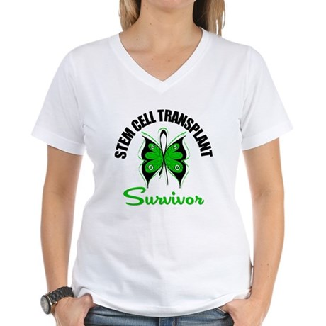 SCT Survivor Butterfly Women's V-Neck T-Shirt