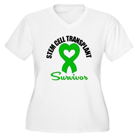 SCT Survivor Heart Ribbon Women's Plus Size V-Neck