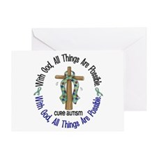 With God Cross Autism Greeting Card