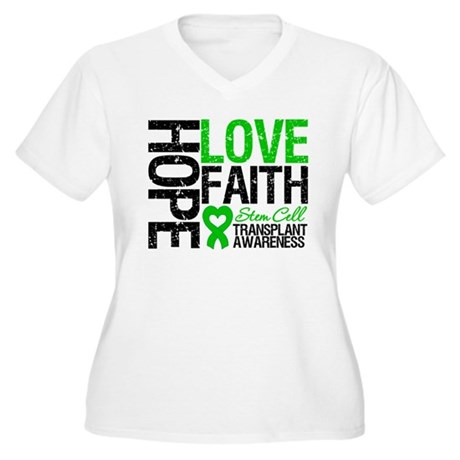 SCT Hope Love Faith Women's Plus Size V-Neck T-Shi