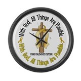 With God Cross CHILD CANCER Large Wall Clock