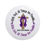 With God Cross Cystic Fibrosis Ornament (Round)