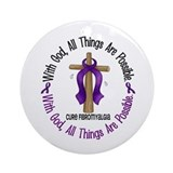 With God Cross Fibromyalgia Ornament (Round)
