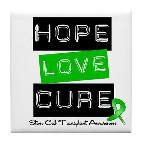 SCT Survivor Heart Ribbon Tile Coaster