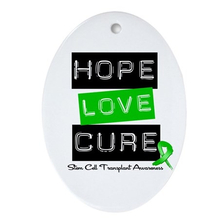 SCT Survivor Heart Ribbon Oval Ornament