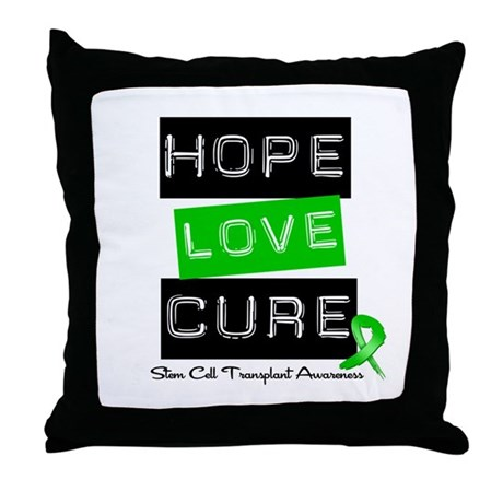 SCT Survivor Heart Ribbon Throw Pillow