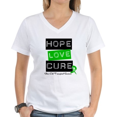 SCTSurvivor HopeLoveCure Women's V-Neck T-Shirt
