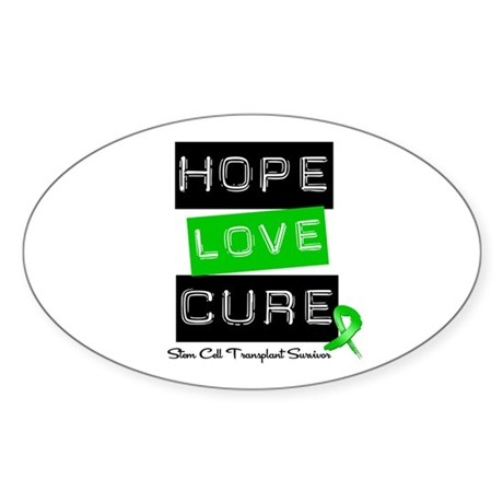 SCTSurvivor HopeLoveCure Oval Sticker