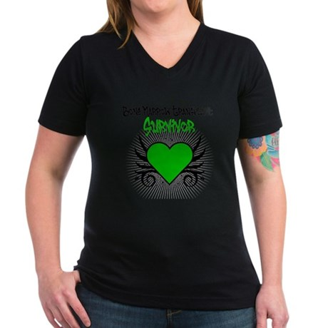 BMT Survivor Grunge Heart Women's V-Neck Dark T-Sh
