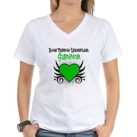 BMT Survivor Grunge Heart Women's V-Neck T-Shirt