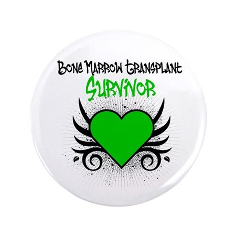 "BMT Survivor Grunge Heart 3.5"" Button"